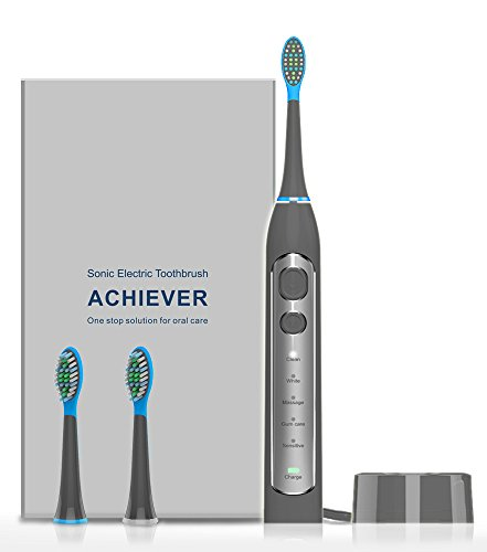 Sonic Electric Toothbrush, LIFANTE Electric Toothbrush with 2 Replacement Heads 5 Brushing Modes with Build in Timer of 2 Minutes Fast Charging Rechargeable Sonic Toothbrush Waterproof