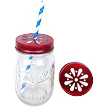 Just Artifacts 12pcs Regular Mouth Mason Jar Daisy Lid Red - LID ONLY