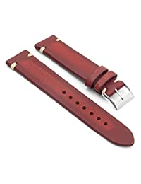 StrapsCo 22mm Red Distressed Vintage Leather Watch Strap