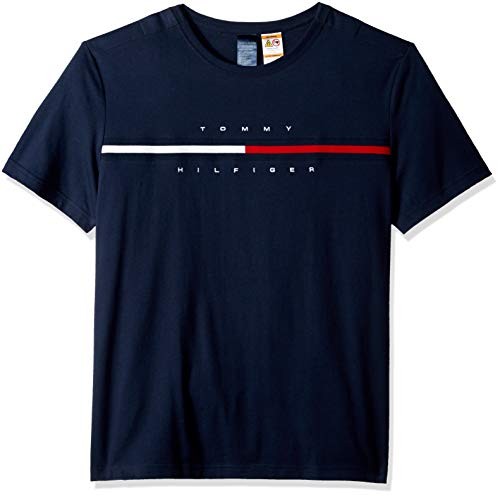 Tommy Hilfiger Men's Adaptive T Shirt with Magnetic Buttons at Shoulders, Navy, XX-Large