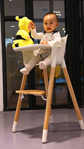 Asunflower Wooden High Chair Adjustable Feeding Baby Highchairs Solution with Tray for Baby/Infants/Toddlers by Asunflower (Image #2)