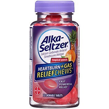 Alka-Seltzer Heartburn Plus Gas Relief Chews, Tropical Punch, 32 Count - Pack of ()