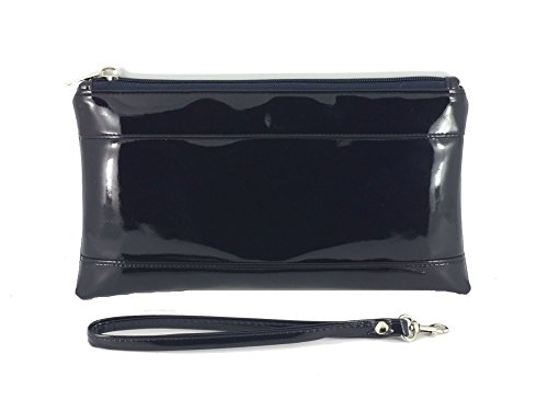 Wallet Clutch Loni Adorable Women Bag Wrist Strap Navy with for Womens Purse Detachable Patent RqqXWp1