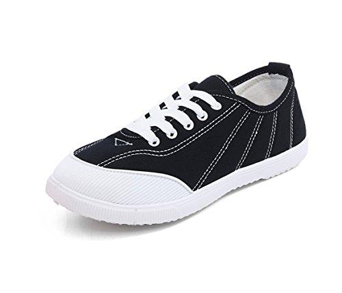 Dandy.Shop Women's Lo-Top Double Upper Fashion Sneaker 6 Black