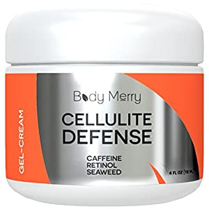 Cellulite Defense Gel-Cream - Reduces Appearance of Cellulite with Caffeine, Retinol & Seaweed - Best Lotion For Body Firming & Toning - 4 oz - By Body Merry