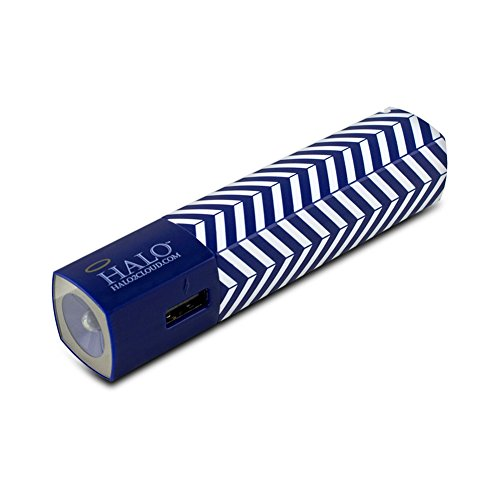 Halo Pocket Power Starlight 3000mAh Power Bank with Flash Light, Blue Chevron (Halo Charger Pocket)