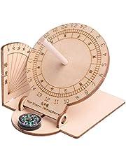 WINOMO Equatorial Sundial Clock, DIY Teaching Aid Educational Toys Wooden Scientific Model for Students Boys Kids Children