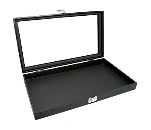 Novel Box Black Jewelry Travel Showcase Display Glass Lid Case