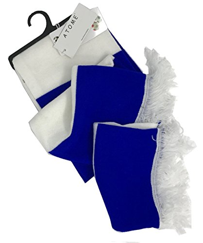 Varsity or Soccer Scarf Unisex with Double Layer Knit, & White Tassel (Royal Blue)