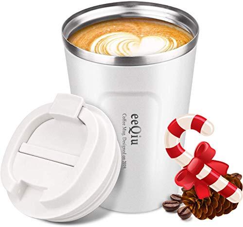 Taza de cafe reutilizable, taza de viaje de 13 oz hecha de acero inoxidable con aislamiento de doble pared Tapa 100% a prueba de fugas Tapa de automovil ecologica para cafe, te y cerveza (blanco)