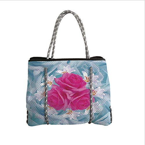 iPrint Neoprene Multipurpose Beach Bag Tote Bags,Rose,Graphic of Roses and Lilies with Soft Pastel Colors Nature Blooms Springtime Theme Decorative,Fuscia Blue,Women Casual Handbag Tote Bags