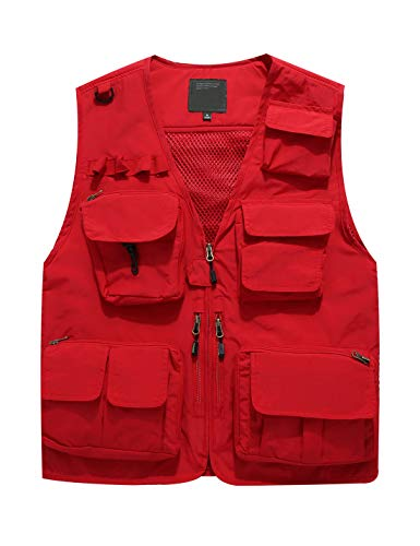Jenkoon Men's Work Multi-Pockets Lightweight Outdoor Travel Fishing Vest (Red-5, Large)