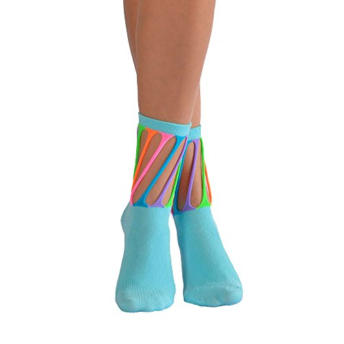 4 Pairs Pack Colorful Design Novelty Crazy Fun Socks For Girls by Softy Socks (Large/10 Years+/Shoe Size 6-9, 4 Pack (White,Black,Blue,Grey)) by Softy Socks (Image #1)