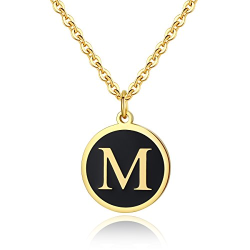 REVEMCN Stainless Steel Alphabet and Bible Verse Proverbs 4:23 Pendant Necklace for Men Women with Keyring and 22'' Chain (Gold-Tone: M) ()