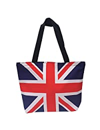 Owm Handbags Cotton Large Printed Pattern British Flag Tote Bag with Zipper