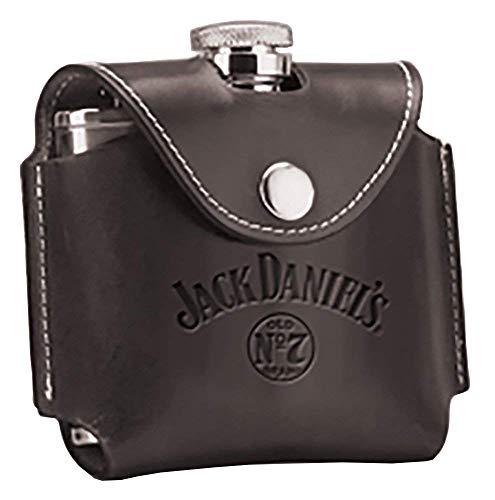 Jack Daniel's Black Leather Covered Flask Gift Box Jack Daniels Licensed Barware