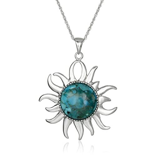 Sterling Silver Synthetic Compressed Turquoise Inlay Sun Pendant Necklace, 18""