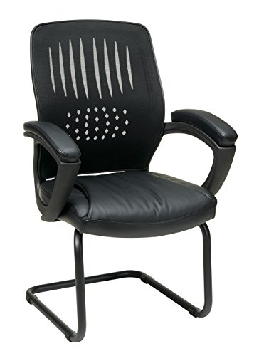 Office Star Screen Back Over Designer Contour Shell Visitor Chair with Eco Leather Seat, Padded Arms, and Sled Base, Black