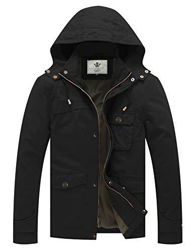 WenVen Men's Army Coat Casual Windbreaker Hooded Fatigue Jacket (Black, S)