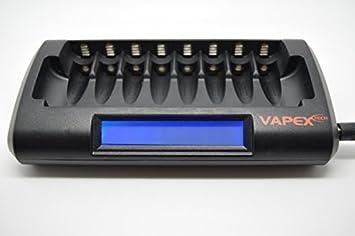 Vapextech Cargador de Bateria Inteligente nimh de 8 celdas AA o AAA