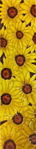 Continental Art Center MD-046 4 by 16-Inch Sunflowers Ceramic Art Tile