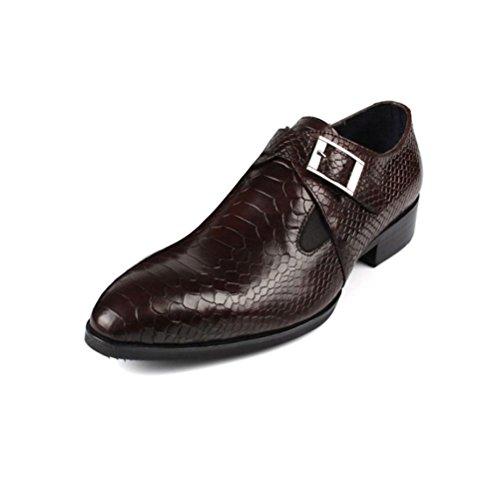LYZGF Hommes Gentleman Affaires Occasionnels Mode Jeunes Mariages Banquet Chaussures en Cuir Brown