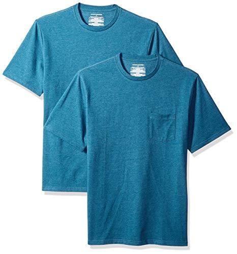 Amazon Essentials Men's 2-Pack Loose-fit Crew Pocket T-Shirt, Teal Heather, Medium