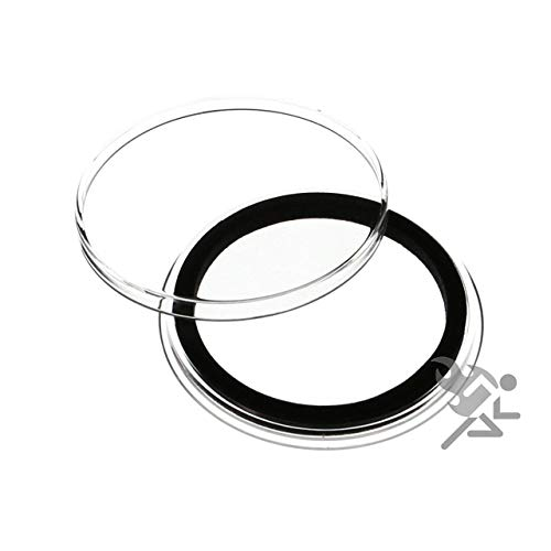 ((5) Air-tite 40mm Black Ring Coin Holder Capsules for American Silver Eagles & 1oz China Silver Panda Sterling )