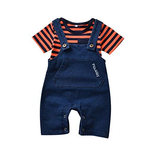 2PcsUnisex-Baby-Vintage-Clothes-Infant Jeans Overalls Romper Outfit Sets (Yellow Stripe&Blue, 3-6Months)