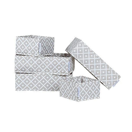 South Shore 100047 Storit Diamonds Canvas Drawer Organizers with Pattern, 5-Pack, Beige diamond pattern