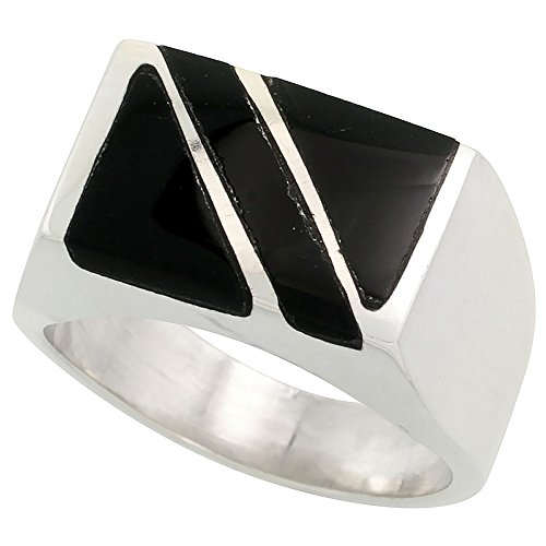 Sterling Silver Obsidian Rectangular Diagonal