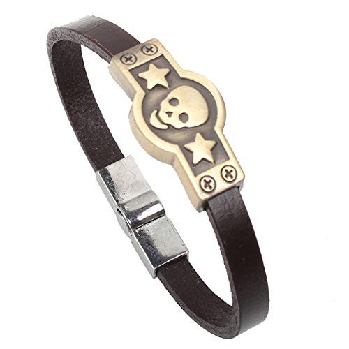Modern Fantasy Christmas Gifts Cross Skull Leisure Metal Cool Golden Joker Leather Bracelet (Star Skull)