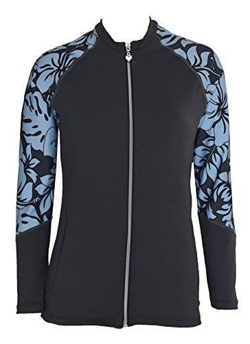 (Private Island Hawaii Women UV Wetsuits Long Raglan Sleeve Rash Guard Top Zipper Jacket Pocket Outdoor/Yoga (X-Large, GwB))