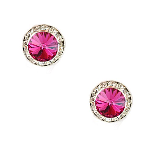 Topwholesalejewel Bridal Earrings Silver Fuchsia Rhinestone 15Mm Rondelle Circle Round