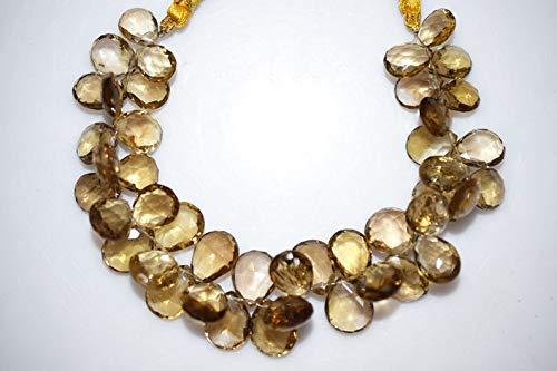 Jewel Beads Gems-Jewellery Natural Beer Quartz Pear Shape Faceted Beads Beer Quartz Pear Shape Briolette 11.5x8.5-14x11.5 mm