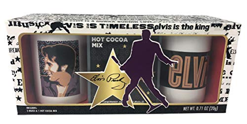 (Elvis Presley is The Timeless King 2 Mugs and 1 Hot Cocoa Mix Gift Set)