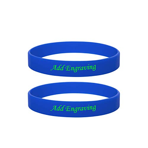 LMXXV Pack of 2 Free Engraving Blue Silicone Rubber Inspirational Bracelet for Best Friend,Graduation Gift