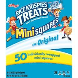 Kellogg's, Rice Krispies Treats Crispy Marshmallow Mini-Squares, Original, Single Serve, Display Box Caddy, 0.39 oz Bars(50 Count) (Rice Krispie Marshmallow Treats)