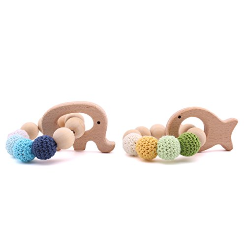 2pc Baby Wooden Teethers Organic Elephant Fish shaped Teething Chewable Toy Montessori Baby Teething Safe and Natural Baby Shower Gift by HAO JIE