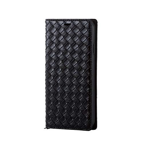 即席コンピューターを使用するパーフェルビッドエレコム iPhone Xs Max ケース 手帳型 レザー 【黒をコンセプトに、多彩に表現】 ブラック(編込み調) PM-A18DPLFYB1