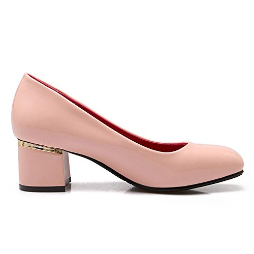 Pumps Women On Shoes Square Mid Toe Block Pink Elegant Slip TAOFFEN Heel dfqR1zdx