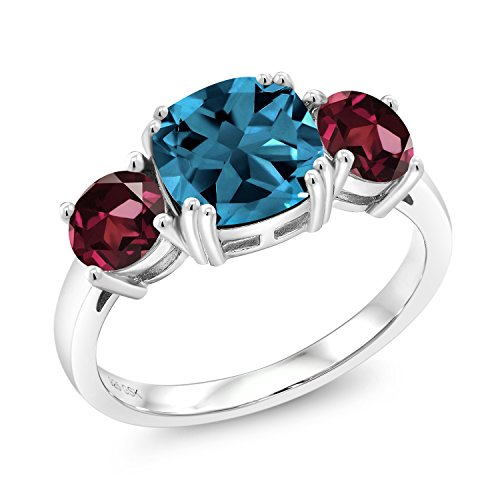 3.94 Ct Cushion London Blue Topaz Red Rhodolite Garnet 925 Sterling Silver Meghan Ring (Set Birthstone Topaz)