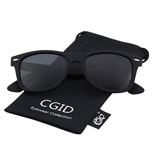 CGID Classic Eyewear 80's Retro Large Horn Rimmed Style UV400 Wayfarer Sunglasses,Matte - Wayfarer Black Matte