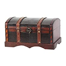 Vintiquewise Leather Wooden Chest/Trunk