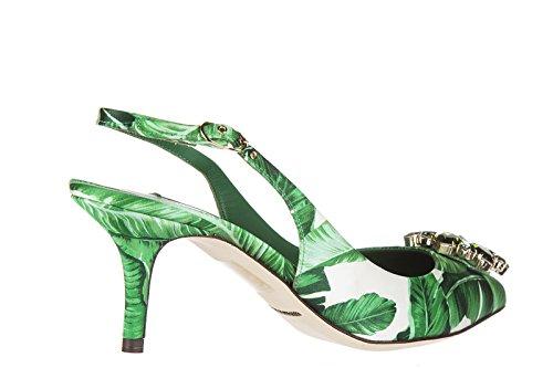 Dolce&Gabbana escarpins chaussures femme à talon foglie vert