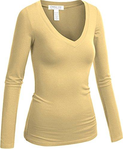 Emmalise Women's Casual Basic V-Neck Tshirt Long Sleeves Tee Top - Khaki, 3XL (Khaki Clothing : Accessories Womens)