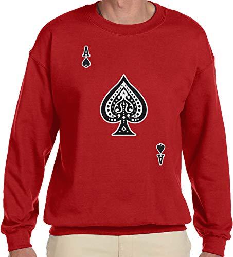 Amdesco Men's Ace of Spades Crewneck Sweatshirt, Red -