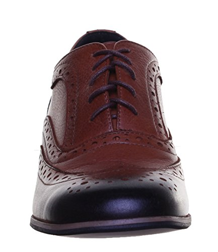 Justin Reece Damen Leder Lace Up Medium Ferse Schuhe Brogue Block Camel PN12