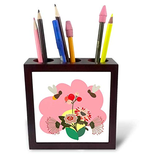 3dRose Amar Singha Art - Flower - Victor Design of A Bunch of Flowers with Bees. - 5 inch Tile Pen Holder (ph_289476_1)