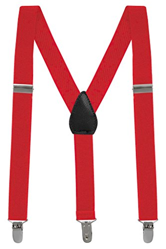 (Buyless Fashion Kids And Baby Adjustable Elastic Solid Color 1 inch Suspenders - Red - Size 22)